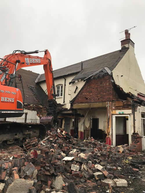 Bens Demolition Division job Demolition of the The Shant Pub, Kingswood for Highridge Construction photo number 2