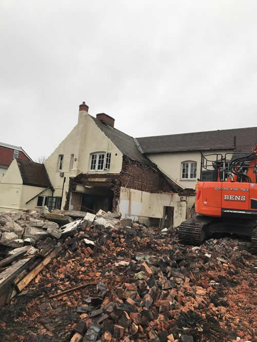 Bens Demolition Division job Demolition of the The Shant Pub, Kingswood for Highridge Construction photo number 9